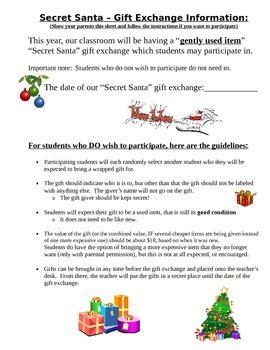 secret santa gift exchange student parent letter