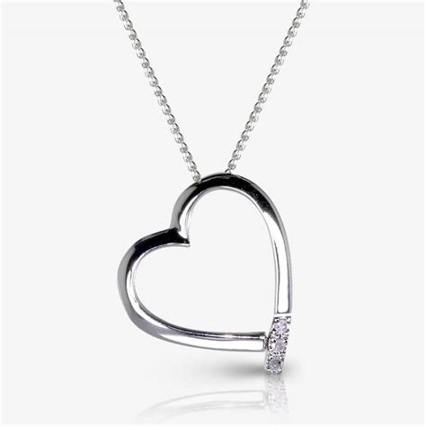Roxanna Sterling Silver Heart Necklace With Diamond