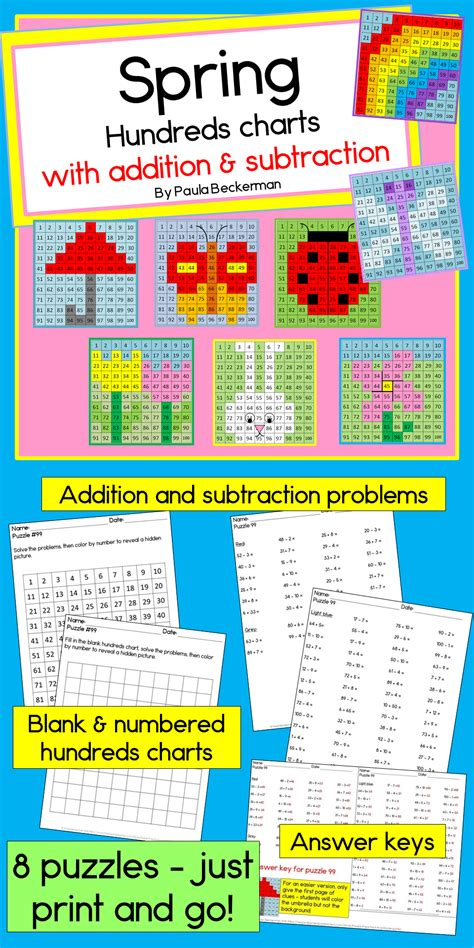 spring hundreds chart mystery pictures  addition