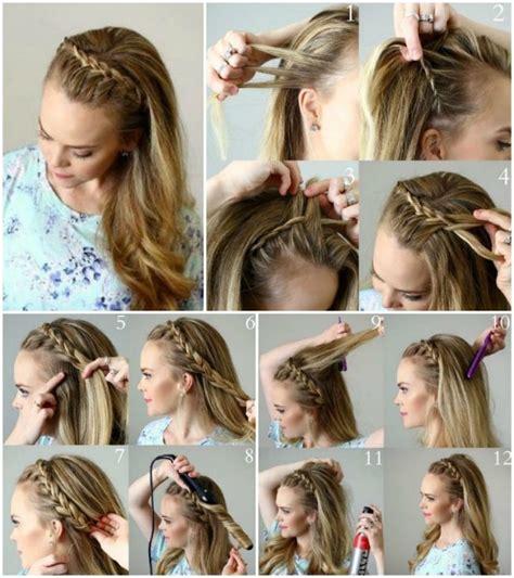 abendfrisuren selber machen lange haare halboffen zopf
