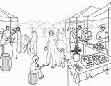 Coloring Scene Village Pages Supermarket Farmers Grocery Scenery Drawing Scenes Farm Market Printable Christmas Getdrawings Getcolorings sketch template