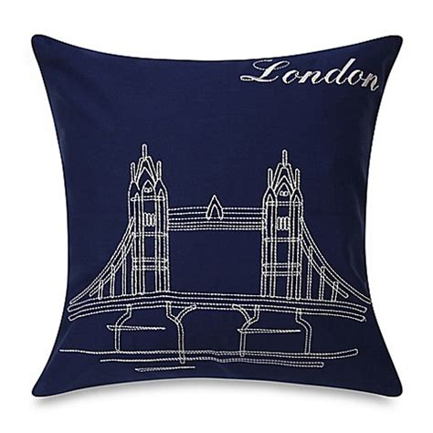 bed bath and beyond sofa pillows bedlam passport london square throw pillow in blue bed