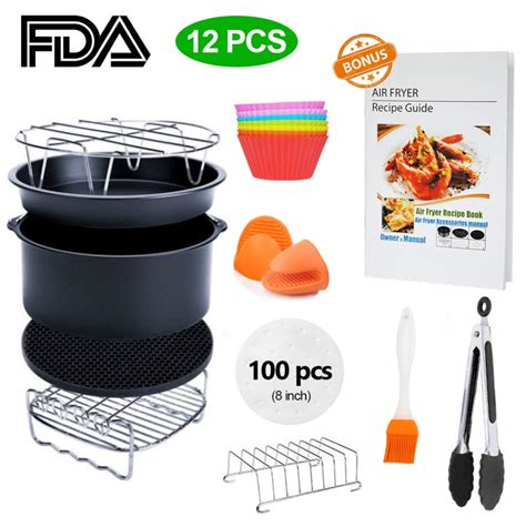 fryer air xl recipe accessory 8qt cookbook piece airfryer 3qt walmart inch simple living deluxe kit cozyna gowise usa digital