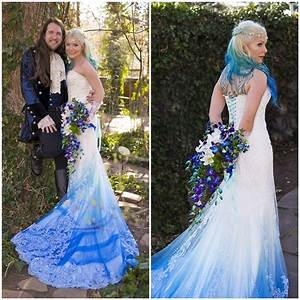 Dip dye wedding dress trend will make your big day more for Dye wedding dress