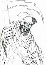 Reaper Grim Outline Tattoo Evil Drawings Drawing Outlines Tattoos Colouring Demon Coloring Sketches Sketch Pencil Skulls Draw Template Graffiti Demonic sketch template