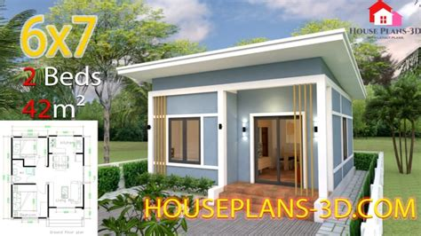 House Plans 6x7 with 2 bedrooms Shed Roof SamPhoas Plan