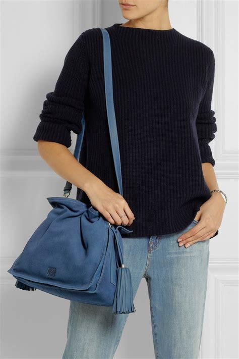 lyst loewe flamenco denimeffect suede shoulder bag  blue
