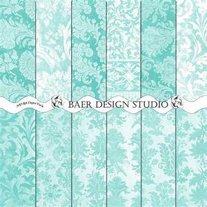 Dark Grey On Tiffany Blue Flourish Damask Pattern - Hot ...