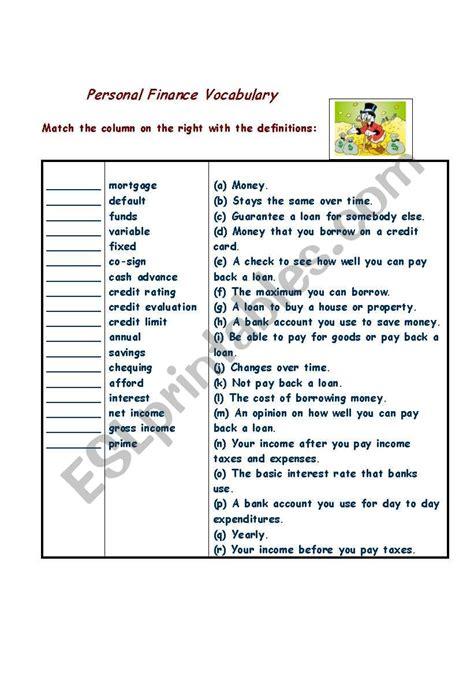 personal finance esl worksheet by athenamelissa