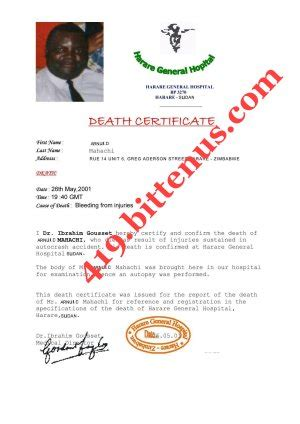 death certificates zimbabwe