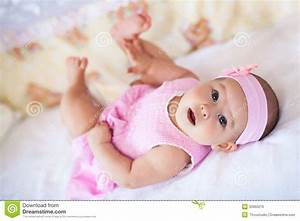Cute Baby Girl In A Pink Dress Stock Photo - Image of ...