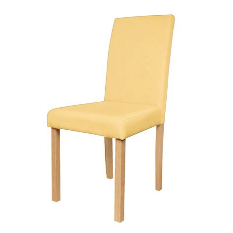 chaise de salon design chaise de salon en tissu jaune lot de 2 koya design