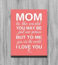 Mom Mothers Day Gift SALE To Me You Are The World Personalized Birthday Gift Grandma Art Print CUSTOM COLORS from Daughter or Son