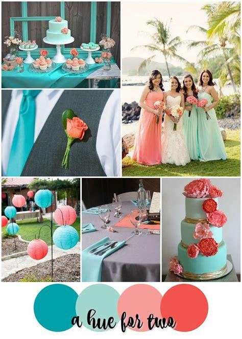 teal mint peach  coral tropical wedding color scheme wedding colours destination