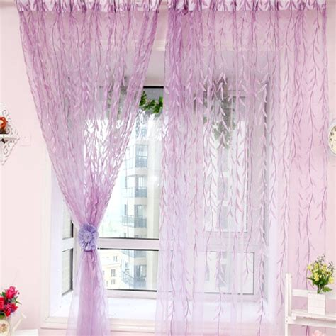 chic room willow pattern voile window curtain floral print