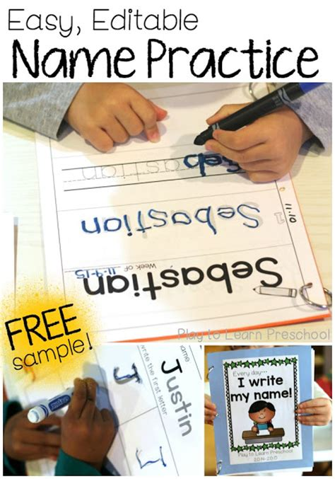 easy name practice worksheets play to learn preschool