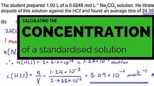 Calculating The Concentration Of A Standardized Solution