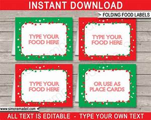 christmas party food labels place cards christmas With food labels for party template