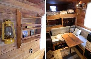Rustic campers cosy living spaces in the back of a van for Truck camper interior ideas