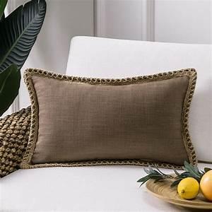 Phantoscope, Farmhouse, Burlap, Linen, Tailored, Edge, Series, Decorative, Throw, Pillow, 12, U0026quot, X, 20