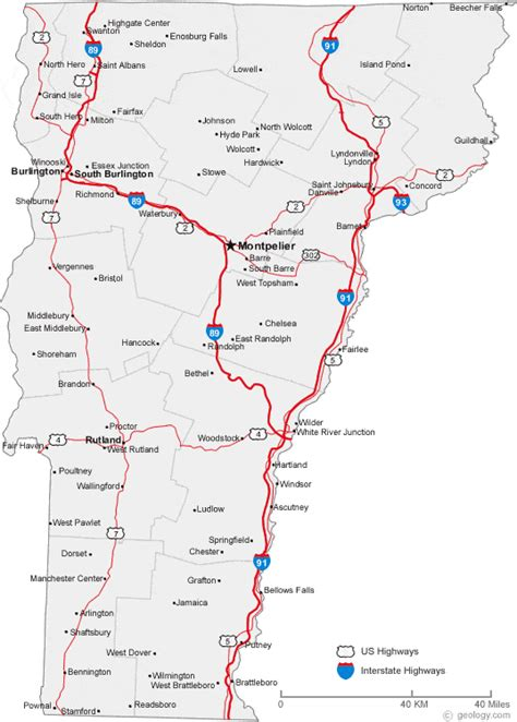 map  vermont cities vermont road map