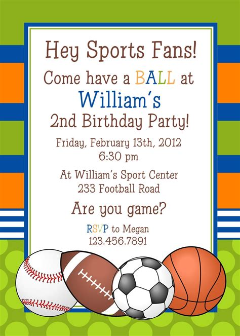 sports templates sports birthday invitations template resume builder