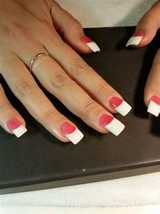 Dark pink & white powder Acrylic Nails by Mai - Yelp