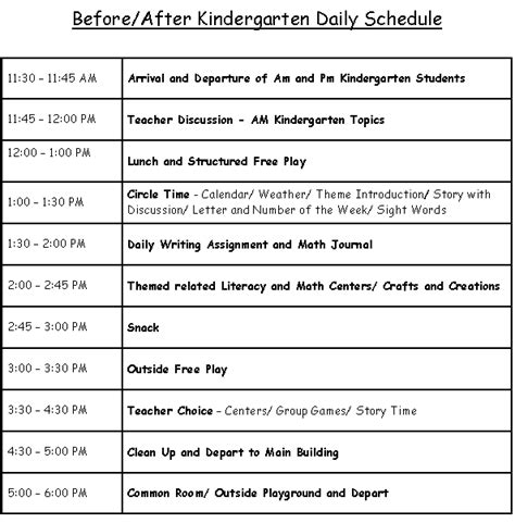 class schedulesweekly themesschool calendar wee kids