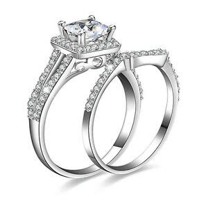 hk 2 s silver plated princess cut evening wedding party rings cheap ebay