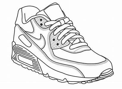 Shoe Nike Drawing Coloring Sneaker Tennis Template