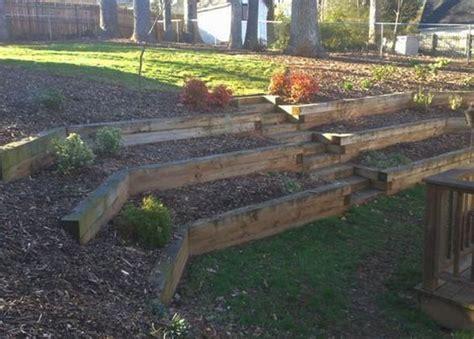 backyard landscaping retaining wall railroad ties