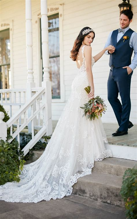 Low Back Wedding Dress With Beaded Lace Martina Liana
