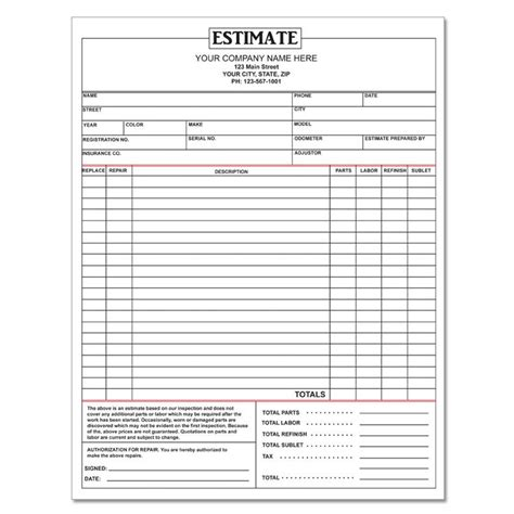 Car Repair Estimates by Auto Repair Invoice Custom Carbonless Printing