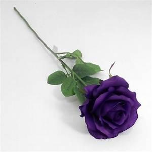 Artificial 58cm Large Single Cadbury Purple Rose - Permabloom