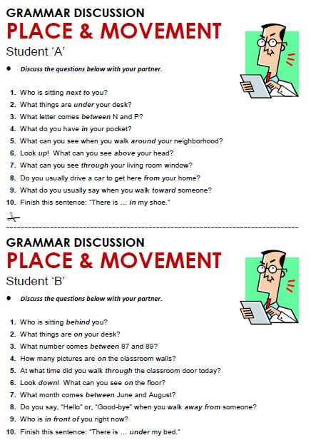 Exercises Prepositions Of Place Pdf  Place And Movement All Things Grammarprepositions Of