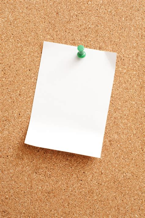 stock photo  white blank paper pinned  cork
