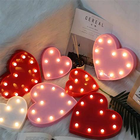 romantic home decorating  lights glowing valentines