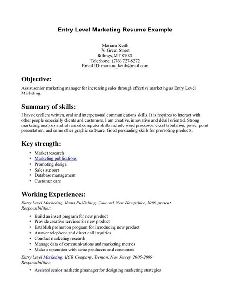 entry level officer resume with no experience entry level resume sles berathen