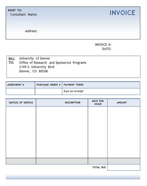 bill template word 8 consulting invoice sles sle templates