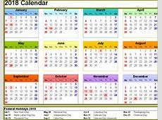 2018 Calendar with Holidays USA Printable Letter