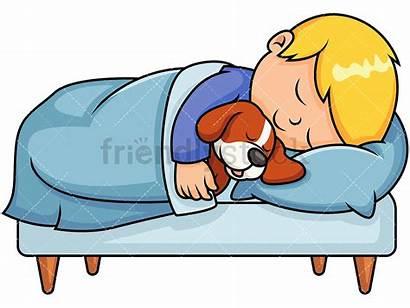 Sleeping Cartoon Clipart Boy Nap Bed Sleep