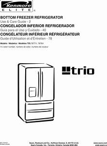 Kenmore Elite 79578773800 User Manual Refrigerator Manuals