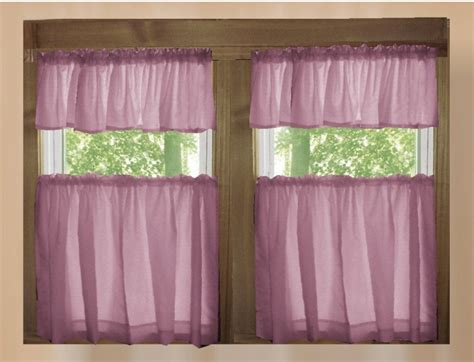 solid powder plum cafe style tier curtain includes  valances   kitchen curtain panels