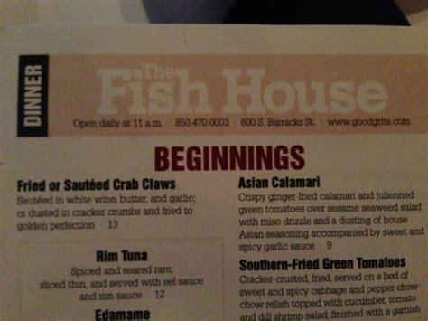 the menu picture of fish house atlas pensacola tripadvisor