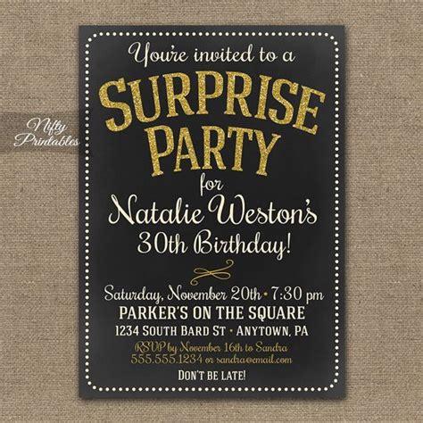 Surprise Party Invitations Printable Chalkboard Surprise