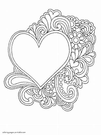 Pages Coloring Heart Flower Printable Hearts Getcolorings