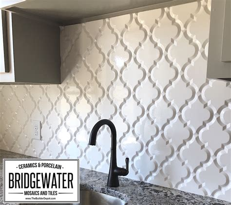 Kitchen Backsplash Pictures Ideas - arabesque whisper white glazed ceramic wall tile beveled lantern