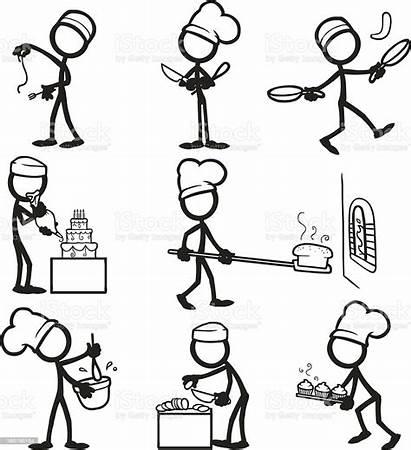 Cooking Illustration Stick Figure Figures Vector Sticks