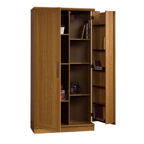 home storage cabinets with doors sauder home plus storage cabinet swing out door brown