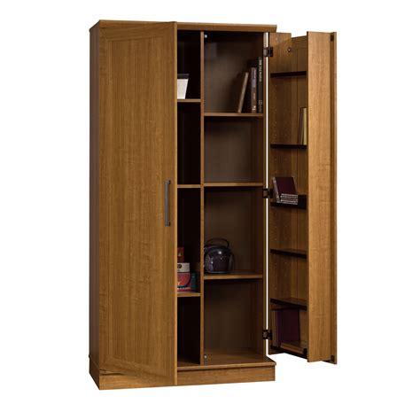 sauder home  storage cabinet swing  door brown